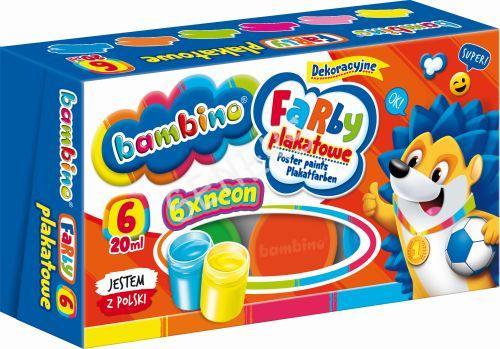 Farby Plakatowe Bambino 6 Kolorow 20 Ml Neon Opak 10szt Seneks